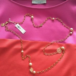 Tory Burch Crystal Pearl Chain Rosary Necklace